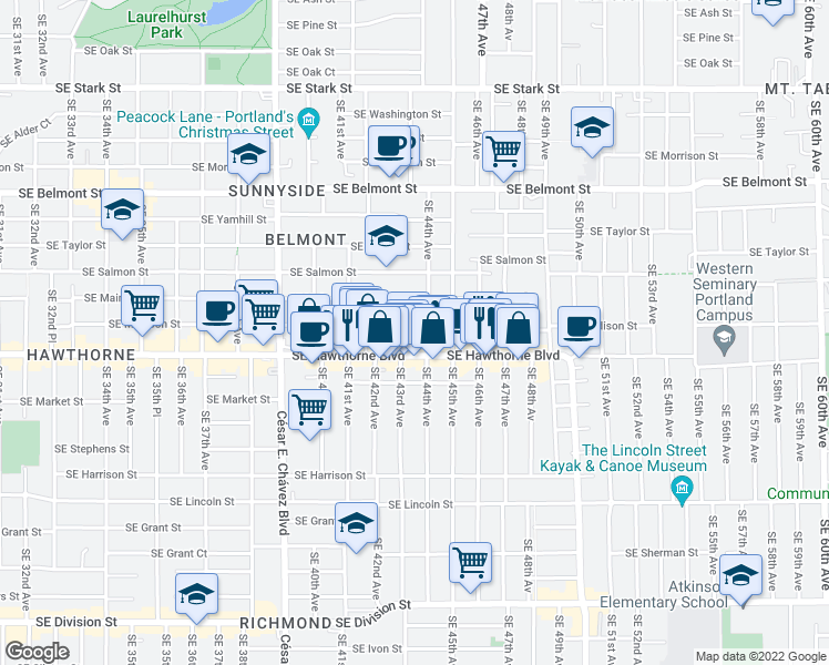 map of restaurants, bars, coffee shops, grocery stores, and more near 4332 Southeast Madison Street in Portland