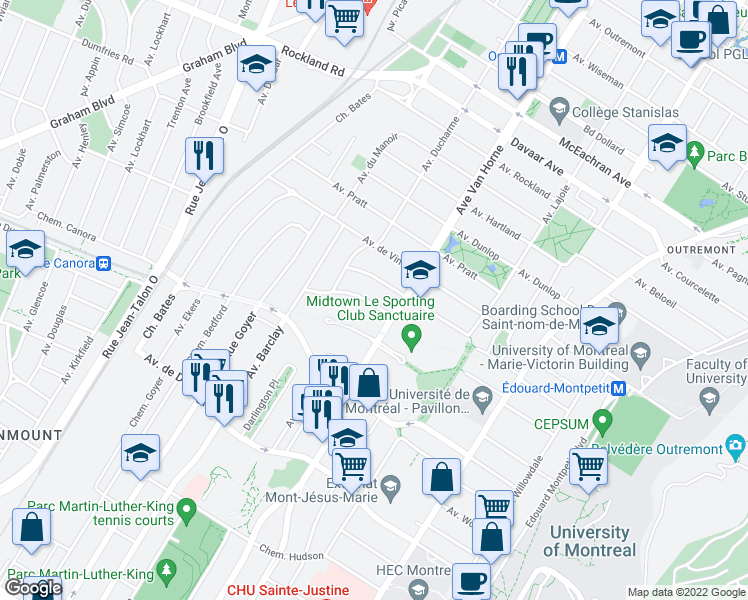 map of restaurants, bars, coffee shops, grocery stores, and more near 6247 Avenue Lennox in Montréal