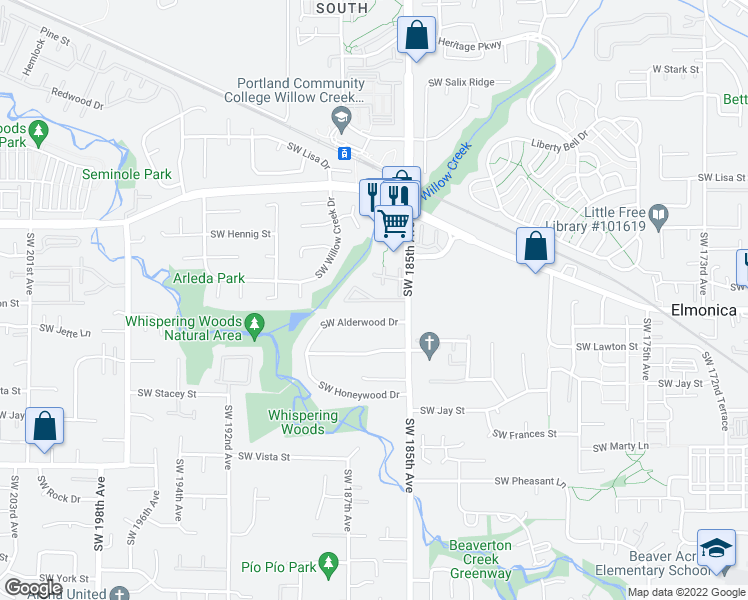 map of restaurants, bars, coffee shops, grocery stores, and more near 903 Southwest 185th Avenue in Hillsboro