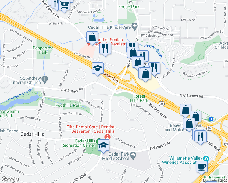 map of restaurants, bars, coffee shops, grocery stores, and more near SW Cedar Hills Blvd & SW Butner Rd in Portland