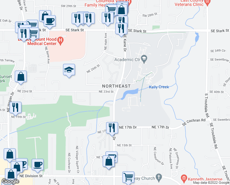 map of restaurants, bars, coffee shops, grocery stores, and more near 3000-3298 Northeast 23rd Street in Gresham