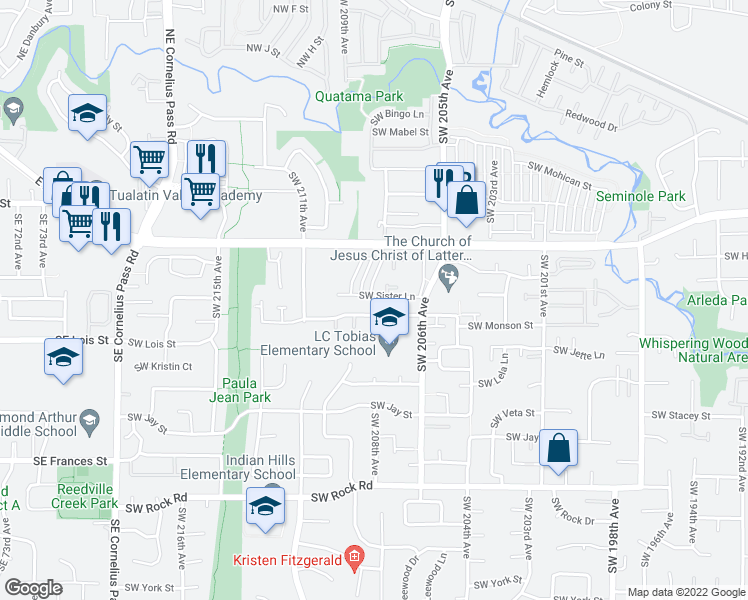 map of restaurants, bars, coffee shops, grocery stores, and more near 20810 Southwest Sister Lane in Beaverton
