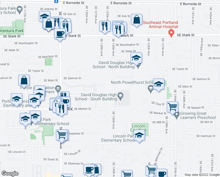map of restaurants, bars, coffee shops, grocery stores, and more near 1317 Southeast 130th Avenue in Portland