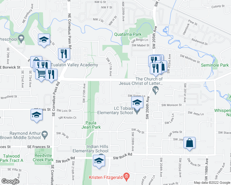 map of restaurants, bars, coffee shops, grocery stores, and more near 810 Southwest 211th Avenue in Beaverton