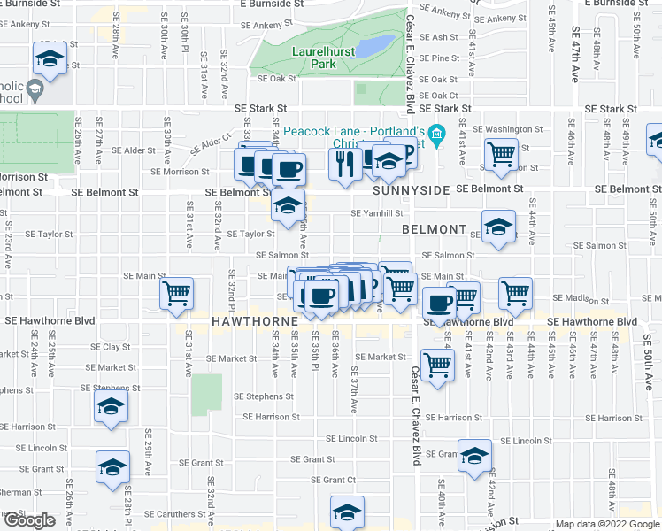 map of restaurants, bars, coffee shops, grocery stores, and more near SE 36th Ave in Portland