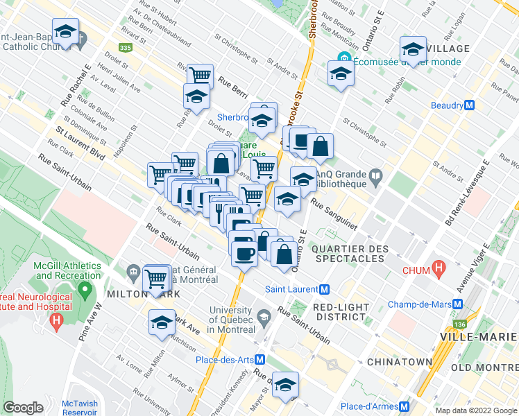 map of restaurants, bars, coffee shops, grocery stores, and more near 169 Rue Sherbrooke Est in Montréal