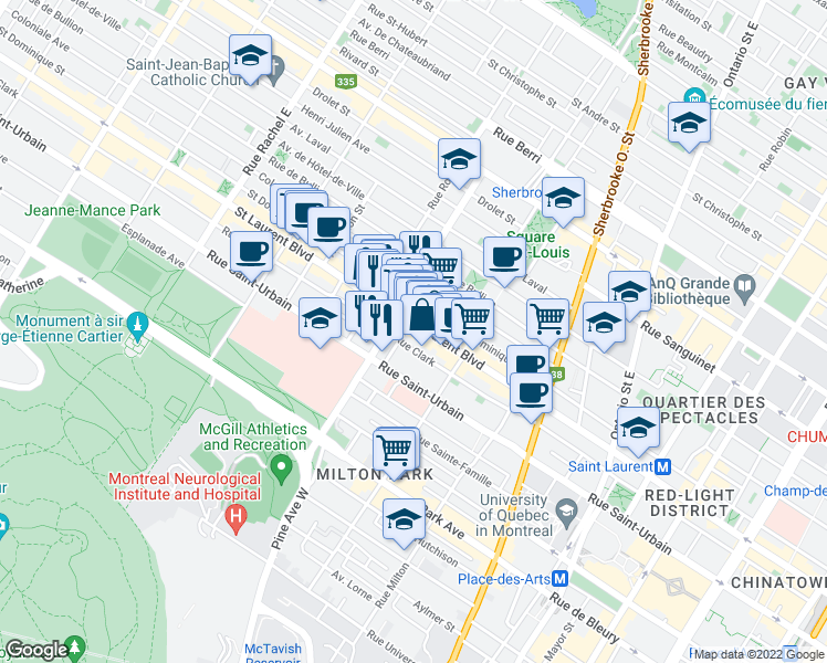 map of restaurants, bars, coffee shops, grocery stores, and more near 23 Rue Guilbault Ouest in Montréal