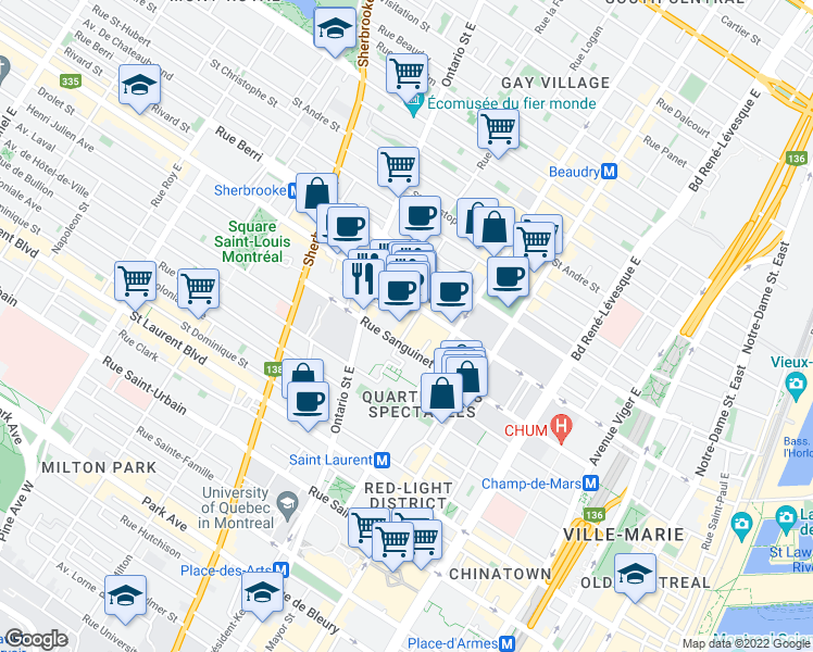 map of restaurants, bars, coffee shops, grocery stores, and more near 1685 Rue Sanguinet in Montréal