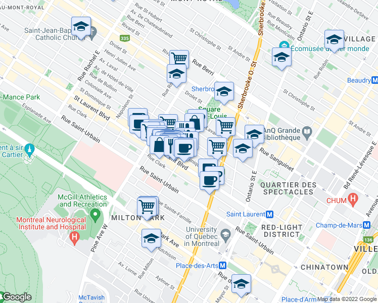 map of restaurants, bars, coffee shops, grocery stores, and more near 60 Rue Prince Arthur Est in Montréal