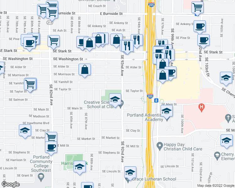 map of restaurants, bars, coffee shops, grocery stores, and more near 1201-1231 Southeast 92nd Avenue in Portland