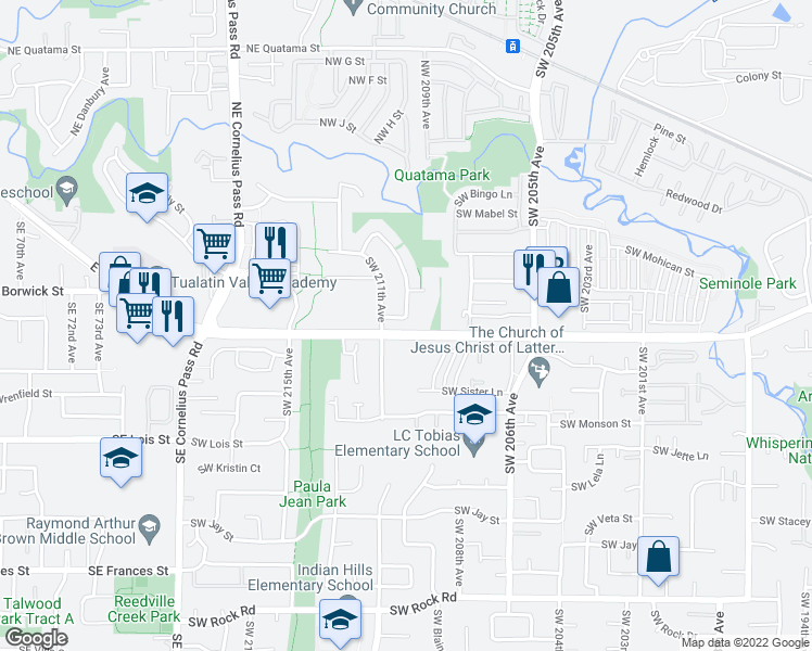 map of restaurants, bars, coffee shops, grocery stores, and more near 560 Southwest Sutherland Way in Beaverton