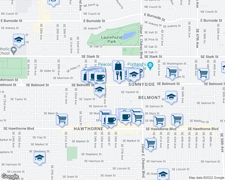 map of restaurants, bars, coffee shops, grocery stores, and more near 3541 Southeast Yamhill Street in Portland