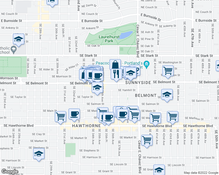 map of restaurants, bars, coffee shops, grocery stores, and more near 3551 Southeast Yamhill Street in Portland