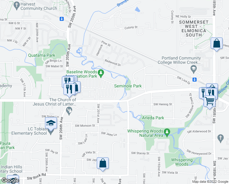 map of restaurants, bars, coffee shops, grocery stores, and more near 531 Southwest 199th Avenue in Beaverton