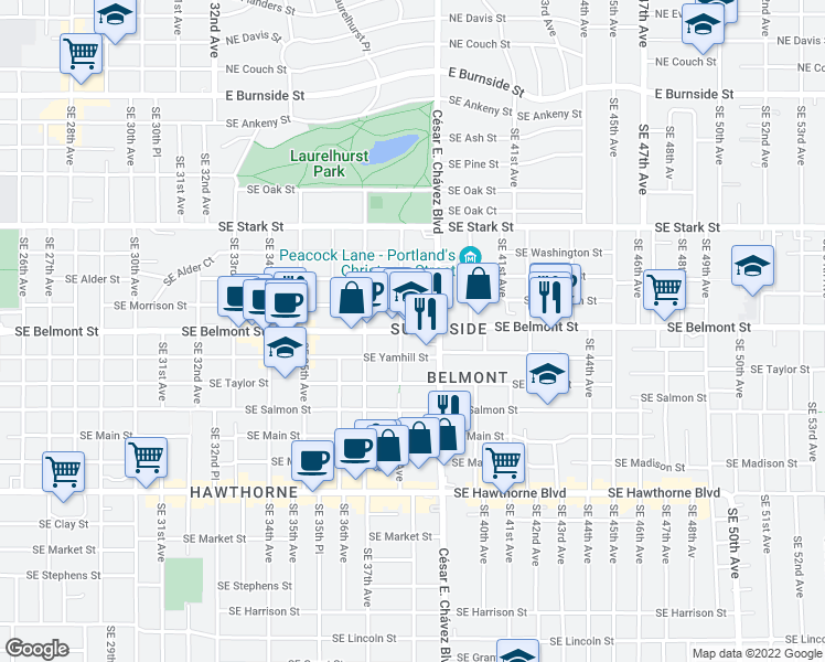 map of restaurants, bars, coffee shops, grocery stores, and more near 935 Southeast Cesar E Chavez Boulevard in Portland