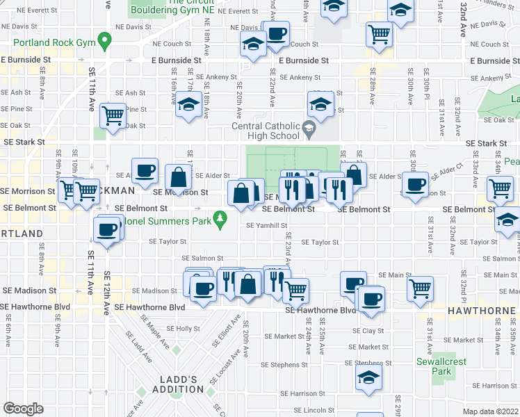 map of restaurants, bars, coffee shops, grocery stores, and more near 2101 Southeast Yamhill Street in Portland