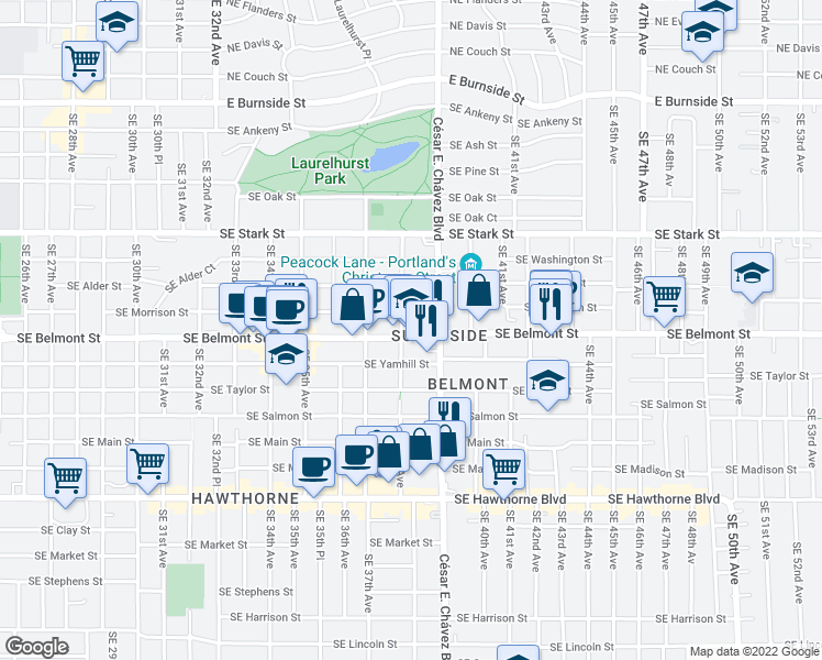map of restaurants, bars, coffee shops, grocery stores, and more near 838 Southeast 38th Avenue in Portland