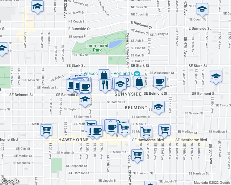 map of restaurants, bars, coffee shops, grocery stores, and more near 3775 Southeast Belmont Street in Portland