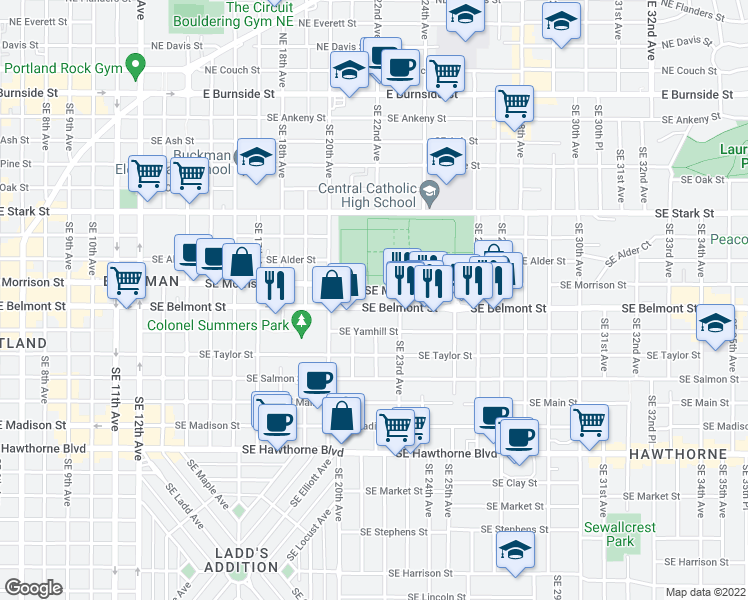 map of restaurants, bars, coffee shops, grocery stores, and more near 2121 Southeast Belmont Street in Portland