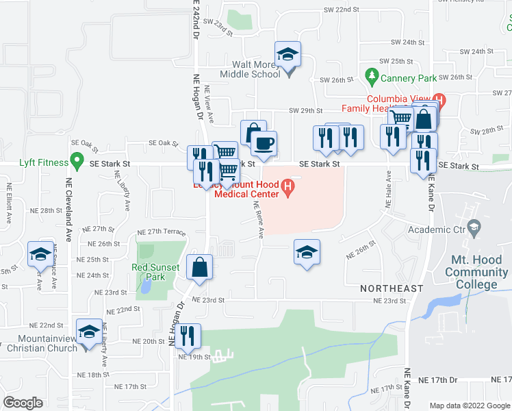 map of restaurants, bars, coffee shops, grocery stores, and more near Mount Hood Medical Center Tc in Gresham
