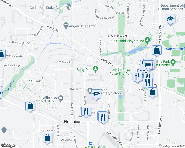 map of restaurants, bars, coffee shops, grocery stores, and more near 16915 Southwest Theodore Way in Beaverton
