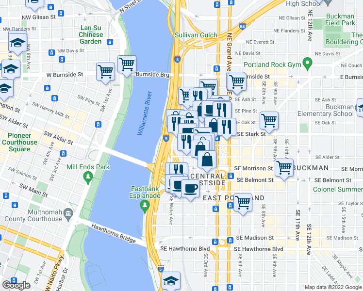 map of restaurants, bars, coffee shops, grocery stores, and more near 100 Southeast Washington Street in Portland