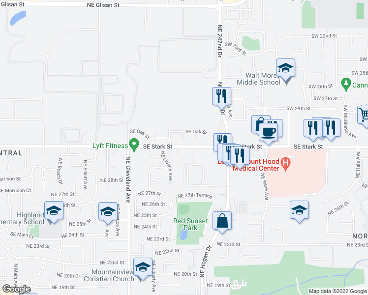 map of restaurants, bars, coffee shops, grocery stores, and more near 23900 Southeast Stark Street in Gresham