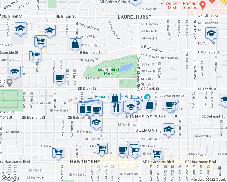 map of restaurants, bars, coffee shops, grocery stores, and more near 3630 Southeast Stark Street in Portland