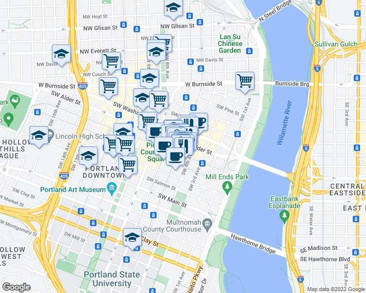 map of restaurants, bars, coffee shops, grocery stores, and more near 629 Southwest 5th Avenue in Portland
