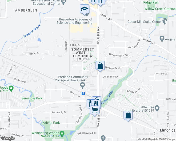 map of restaurants, bars, coffee shops, grocery stores, and more near NW Heritage Pkwy & NW Heron Way in Hillsboro