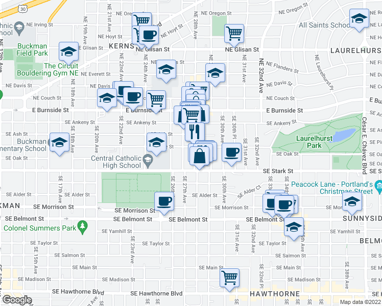 map of restaurants, bars, coffee shops, grocery stores, and more near 323 SE 28th Ave in Portland