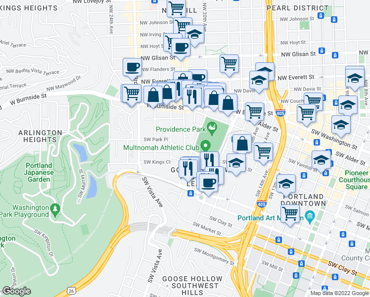 map of restaurants, bars, coffee shops, grocery stores, and more near SW Salmon St & SW 21st Ave in Portland