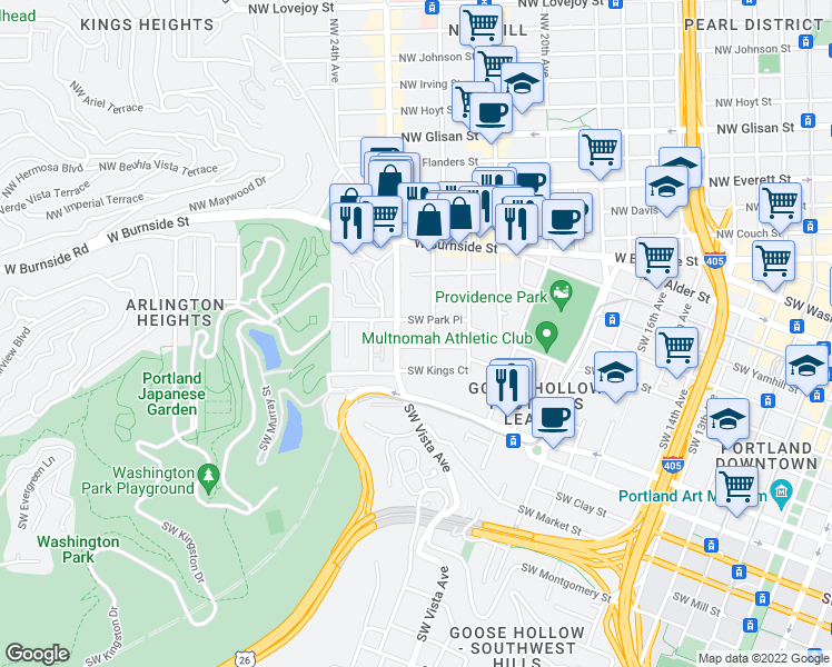map of restaurants, bars, coffee shops, grocery stores, and more near 1000 Southwest Vista Avenue in Portland
