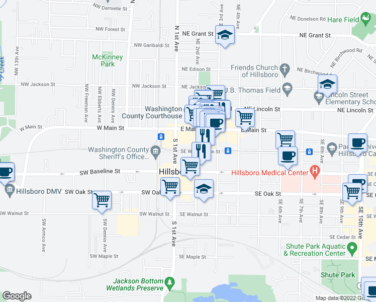 map of restaurants, bars, coffee shops, grocery stores, and more near 129 Southeast 2nd Avenue in Hillsboro