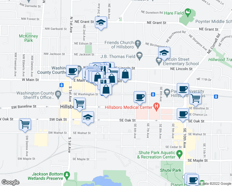 map of restaurants, bars, coffee shops, grocery stores, and more near 449 Southeast Washington Street in Hillsboro