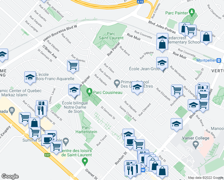 map of restaurants, bars, coffee shops, grocery stores, and more near Rue Deguire in Montréal