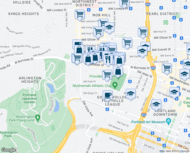 map of restaurants, bars, coffee shops, grocery stores, and more near 901 Southwest King Avenue in Portland
