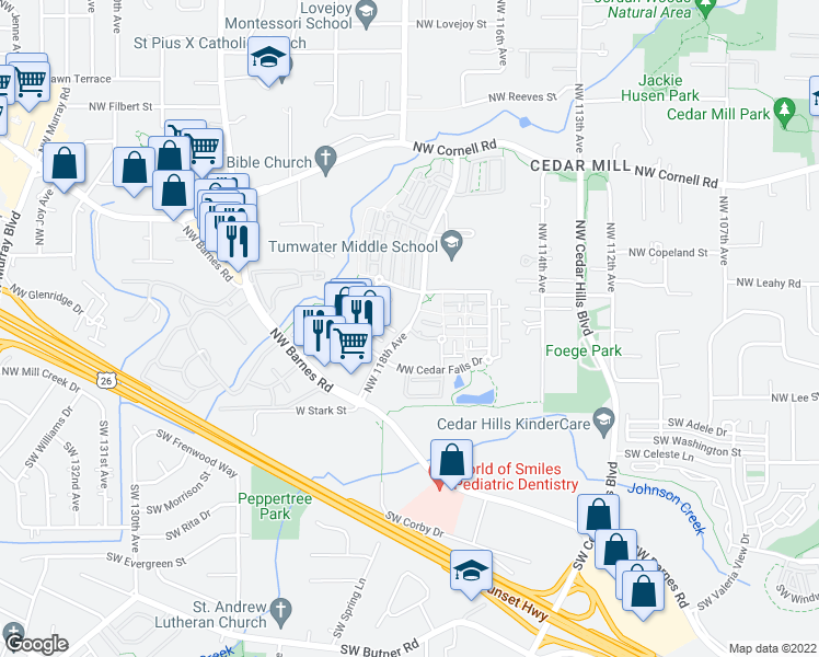 map of restaurants, bars, coffee shops, grocery stores, and more near NW 118th Ave & NW Timberview Ln in Beaverton