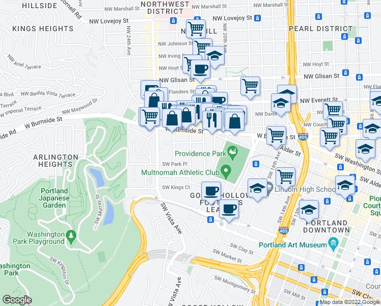 map of restaurants, bars, coffee shops, grocery stores, and more near 809-899 Southwest King Avenue in Portland