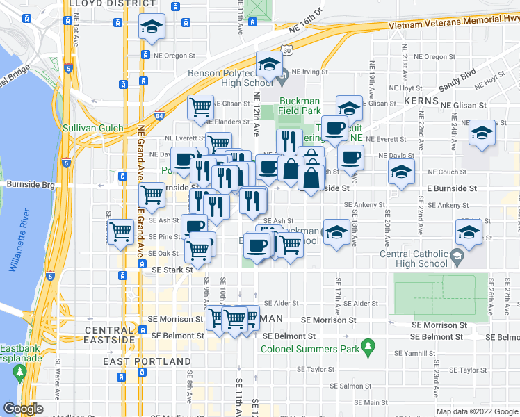 map of restaurants, bars, coffee shops, grocery stores, and more near 1206 Southeast Ankeny Street in Portland
