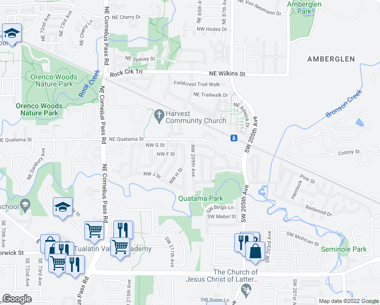 map of restaurants, bars, coffee shops, grocery stores, and more near 337 Northwest 209th Avenue in Beaverton