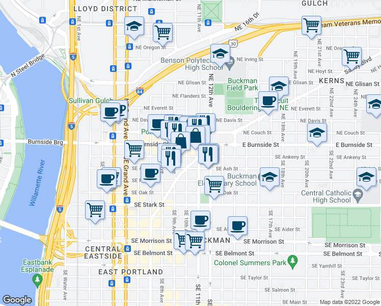 map of restaurants, bars, coffee shops, grocery stores, and more near 60 Southeast 10th Avenue in Portland