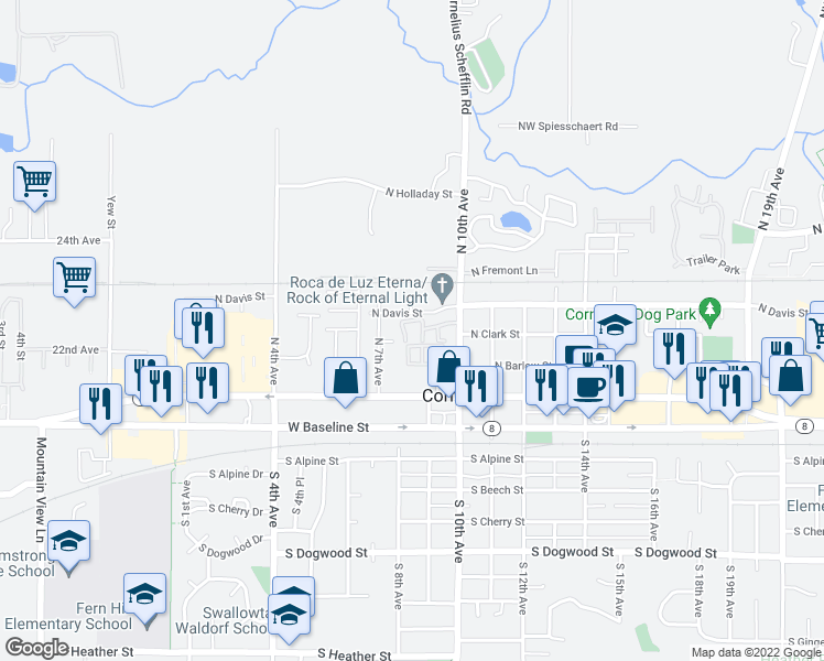map of restaurants, bars, coffee shops, grocery stores, and more near 281 North 10th Avenue in Cornelius