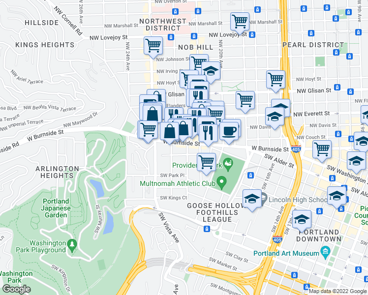 map of restaurants, bars, coffee shops, grocery stores, and more near 715 Southwest King Avenue in Portland