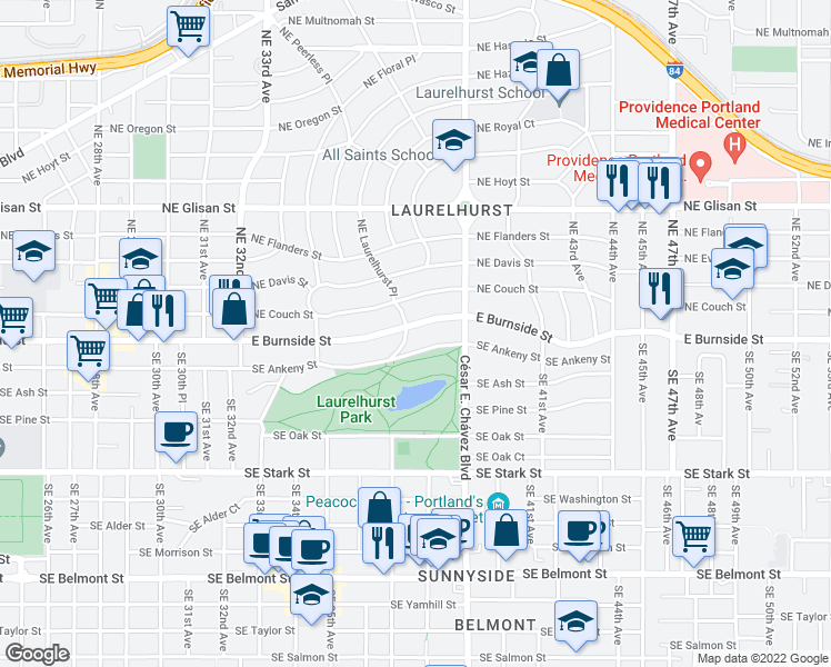 map of restaurants, bars, coffee shops, grocery stores, and more near 3608 East Burnside Street in Portland