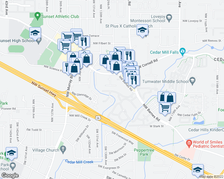 map of restaurants, bars, coffee shops, grocery stores, and more near 12628 Northwest Barnes Road in Portland