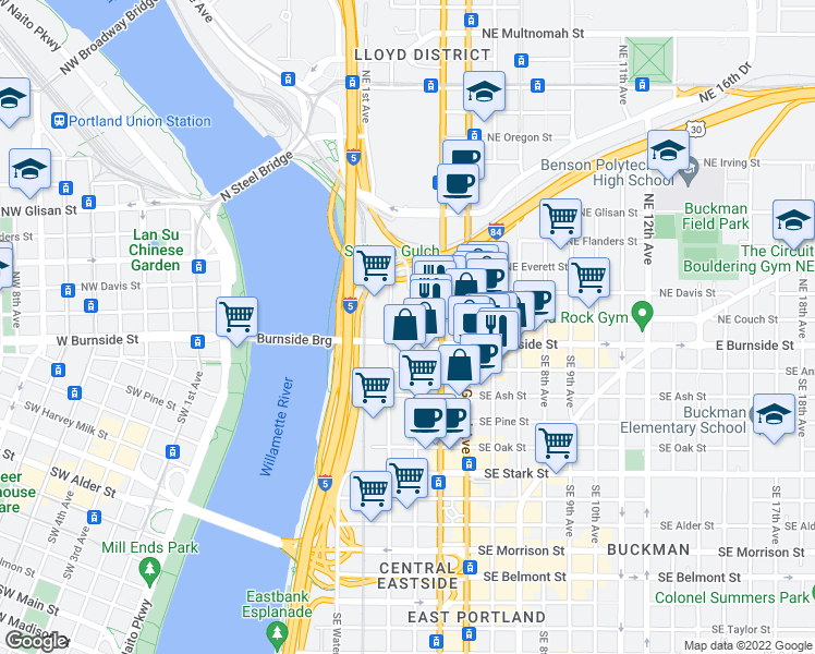 map of restaurants, bars, coffee shops, grocery stores, and more near 22 Northeast 2nd Avenue in Portland