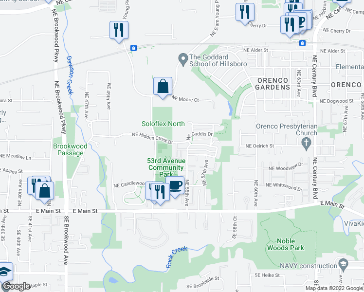 map of restaurants, bars, coffee shops, grocery stores, and more near 5502 Northeast Hidden Creek Drive in Hillsboro