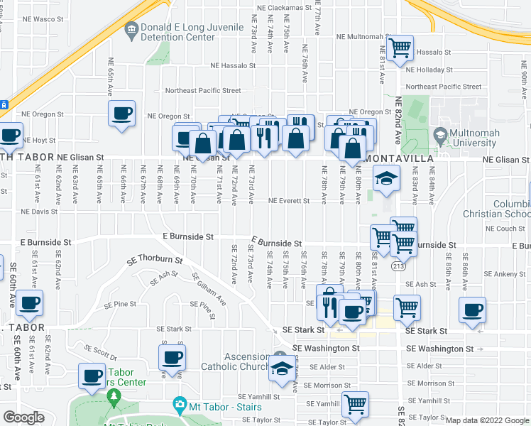 map of restaurants, bars, coffee shops, grocery stores, and more near 209 Northeast 74th Avenue in Portland