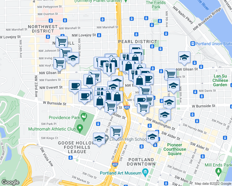 map of restaurants, bars, coffee shops, grocery stores, and more near 1628-1634 Northwest Everett Street in Portland